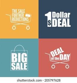 Flat design sale discount background, sticker set.