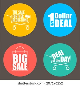 Flat design sale discount background, icon set.