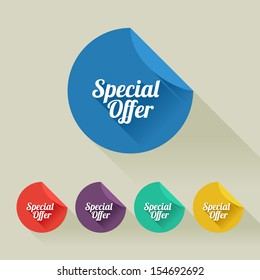 Flat design sale discount Special offer button with long shadow, 8 EPS
