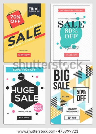 flat design sale flyer template websites stock vector royalty free
