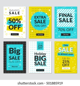 Flat design sale website banners for mobile phone. Vector illustrations for social media banners, posters, email and newsletter designs, ads, promotional material.