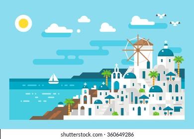 Flat design santorini cityscape view illustration vector