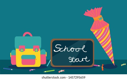 Flat design School bag vector illustration with blackboard saying: school start and pink school cone decorated with hearts, messy pencils and candies are spread over the table on blue-green background