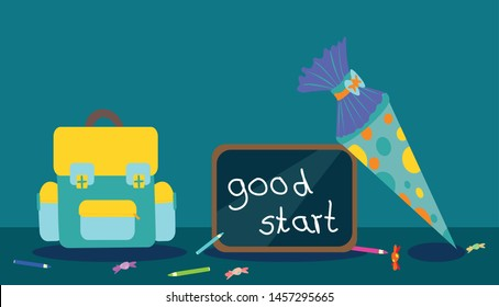Flat design School bag vector illustration with blackboard saying: good start and turquoise school cone decorated with points, messy pencils and candies are spread over the table