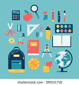 Flat design of school supplies. Calculator, apple, magnifier, eraser, pens, brush, scissors, ruler, notebook, backpack, globe, watercolor.