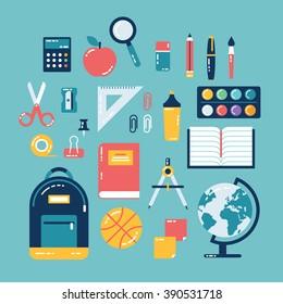 Flat design of school supplies. Calculator, apple, magnifier, eraser, pens, brush, scissors, ruler, notebook, backpack, globe, watercolor.