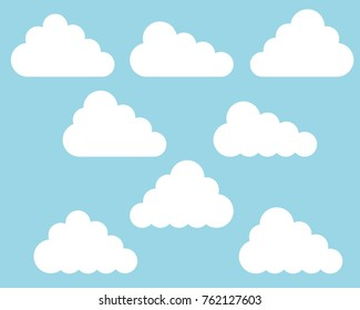 Flat design set of different white clouds on blue sky - vector