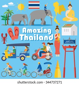 Flat design, Set of Thai icons and symbols