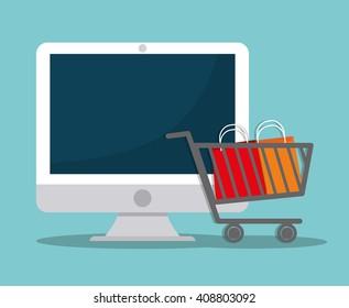 Flat design of shopping icon, vector illustration
