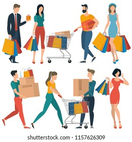 Flat design shopping people spending customer consumerism vector concept. Young woman with shopping bags and man with shopping cart and gift box.