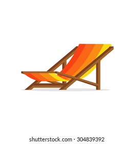 Flat design simple orange yellow stripes summer beach chair wood isolated