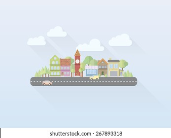 Flat Design Simple Pastel Colored Village Vector. Simple illustration of small town with main street, flat design, long shadow
