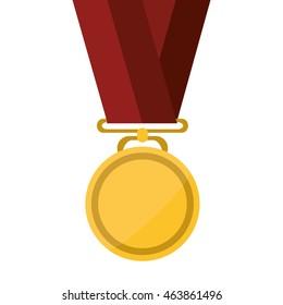 flat design single medal icon vector illustration