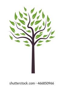 flat design single tree icon vector illustration