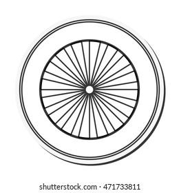 flat design single wheel icon vector illustration