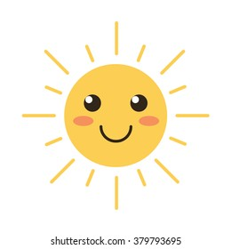 Flat design smiling cartoon sun isolated on white background. Vector illustration.