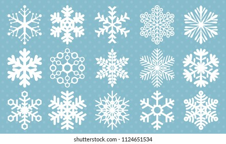 Flat design snowflakes vector icons. Christmas and new year decoration element set.