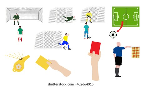 Flat design soccer footall icons set