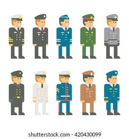 Flat design soldier uniform set illustration vector