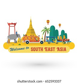 Flat design, South East Asia's landmarks and icons, Vector