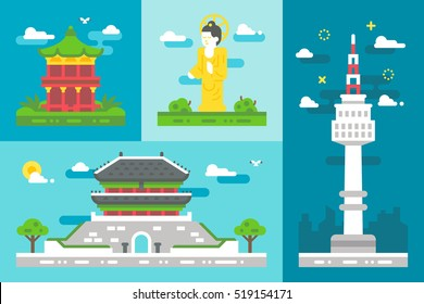 Flat design South Korea landmarks illustration vector