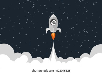 Flat design, Space rocket launches, Astronauts in a rocket, Vector illustration, Infographic Element