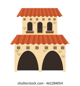 flat design spanish colonial architecture icon vector illustration