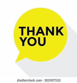 Flat Design Speech Bubble Thank You, vector concept