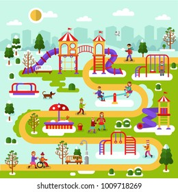 Flat design spring and winter nature landscape of park map with kids playground. Infographic design of entertainment for children. Vector illustration with sandbox, disabled person, swings, slides.
