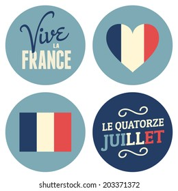Flat design stickers for the French National Day, July 14th, Bastille Day. Vive La France, Long Live France.