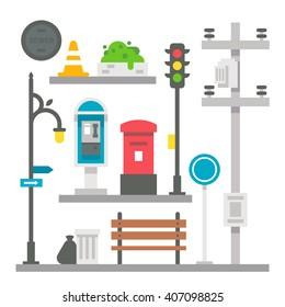 Flat design street items set illustration vector