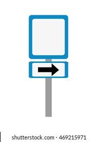 flat design street sign right arrow icon vector illustration