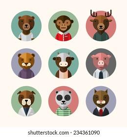 Flat design style animal avatar icon set. Vector illustration. Pig, monkey, cat, dog, panda, bull, deer, bear, puma