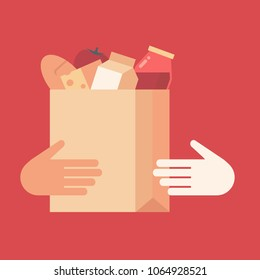 Flat design style colorful vector illustration of passing grocery bag from courier to customer, concept for food delivery isolated on stylish background