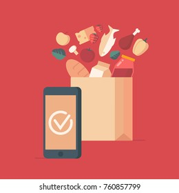 Flat design style colorful vector illustration concept for grocery delivery, online ordering of food isolated on stylish background