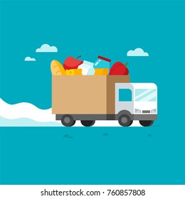 Flat design style colorful vector illustration of lorry delivering food isolated on bright background