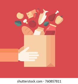 Flat design style colorful vector illustration of hands holding grocery bag, concept for food delivery isolated on stylish background
