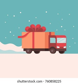 Flat design style colorful vector illustration of lorry delivering gift box by snow isolated on bright background