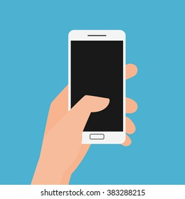 Flat design style. Hand holding smartphone. Cartoon Vector Illustration.