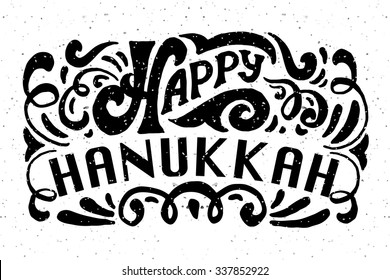 Flat design style Happy Hanukkah logotype, badge and icon typography. Lettering of jewish holiday logo template. Lettering card template. Calligraphy banner, flyer on textured background