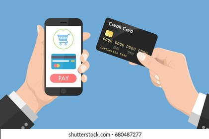 Flat Design style Human hand holding smartphone with online shopping app and credit card, vector design Element illustration