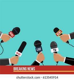 flat design style Journalism waiting for speech. Reporters in live & breaking News hold microphones vector illustration on television or tv. Human hands with mic. journalists with many Mike reporting