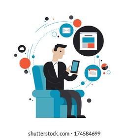 Flat design style modern vector illustration concept of businessman using mobile phone for internet browsing, email correspondence and other business task. Isolated on white background