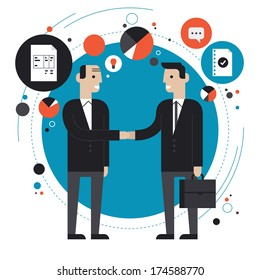 Flat design style modern vector illustration concept of successful partnership, business people cooperation agreement, teamwork solution and handshake of two businessman Isolated on stylish background