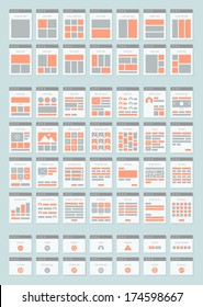Flat design style modern vector icons set of website sitemap collection for creating flowchart navigation of web site architecture and prototyping structure and interactions. Isolated on background