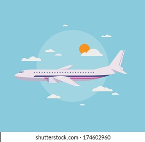 Flat design style modern vector illustration concept of modern detailed airplane flying through clouds in the blue sky. Isolated on stylish background.