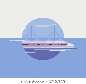 Flat design style modern vector illustration poster concept of modern city high-speed train crossing over bridge. Isolated in circle on stylish background.