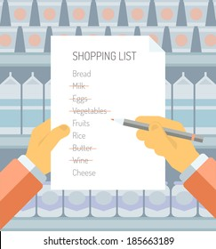 Flat design style modern vector illustration concept of person holding shopping list of items needed to be purchased in a supermarket with abstract product shelves on the background.