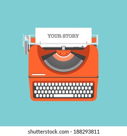 Flat design style modern vector illustration concept of a manual vintage stylish typewriter with share your story text on a paper list. Isolated on stylish color background