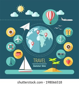 Flat design style modern vector illustration icons set of planning a summer vacation, travelling on holiday journey, tourism and travel objects.
